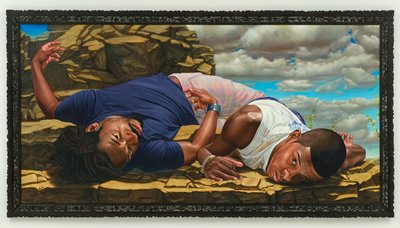 Two men lying on rocky outcrop, one on his back in a blue shirt, the other on his stomach in a white shirt; blue sky and clouds at UR. Frame: painted black with open carving of birds and flowers.