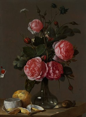 clear glass vase with pink roses; two lemons--one partially peeled--and a snail on table; trompe l'oeil effect with sealing wax and piece of paper in LLQ at left edge; tiny spider above and to right of snail; dark wood frame