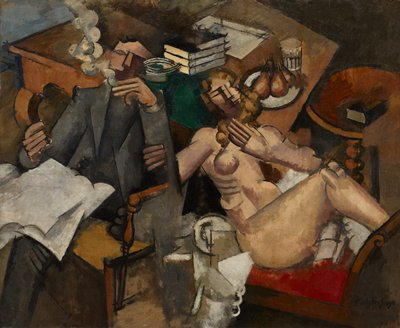 Genre. Cubist. Seated man and woman.