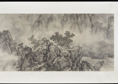 black and white; rocky, rugged mountain landscape with atmospheric clouds and trees; stream near left edge of image with narrow waterfall between rocks; large block of text at left end of scroll with very regular characters inside a pencil grid; red seal in LLC; pale cream-colored silk mount without rollers