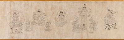 different images of Kannon, images of Buddha figures within large halos, with attendants, on lotus pedestals; text, some in Sanskrit