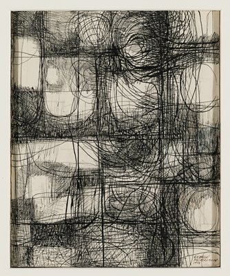 abstract image; rough, irregular grid with some curving lines and circular forms; crosshatching in various patterns