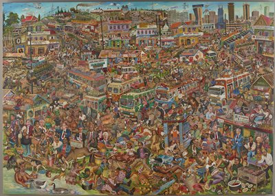 "cartoonish style; overcrowded city scene with many vignettes; buses at center middle ground packed with wild and domesticated animals and people; overturned bus with injured people in LRQ; skyscrapers at top; many signs; some portraits of politicians and others in foreground and middle ground including Barack Obama, Bill Clinton, Monica Lewinsky, and Vladimir Putin; foreground vignettes include ""Xtreme Cat Delicacy"" restaurant with man grilling cats and decapitated cat heads at bottom, latrine with dog drinking urine, reclining woman being urinated on by a dog with a cat between her legs, a man with a bloody crotch with a woman leaning over him who holds his penis and a bloody knife, a woman pulling on the penis of a donkey, a woman in water with a duck expressing milk from her breast into a cup, a woman braiding the hair of a seated woman with a cat at the seated woman's crotch; church in ULQ; some helicopters in sky including one airlifting a giraffe; some pencil underdrawings visible; received rolled/unstretched"
