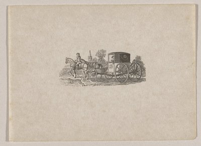 """carriage drawn by two horses with rider on horse on PL; man with walking stick seated inside carriage; carriage has """"T.B."""" on door; spotted dog running alongside horses; church steeple in background"""