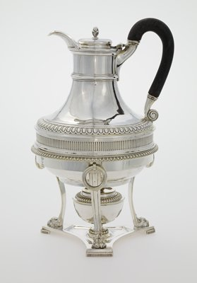 hot water jug, stand and spirit lamp; silver; George III; band of fluting around body; replacement wooden handle