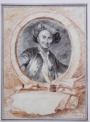 Portrait of a man drawn in the round, with a frame and desk setting drawn around it