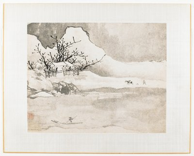 House with fence and trees at left center; horse and male figure at right center; figure in a boat at lower left; mountains in background