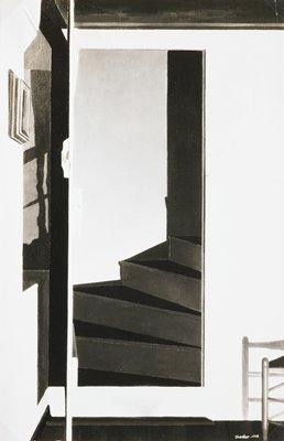 photo of Charles Sheeler painting of an open door with curving stair steps behind it; part of chair at right