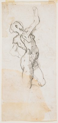 recto: female nude, with lower legs undefined, seen from PR side, with upper body twisted to left; PR arm raised; verso: portion of a drawing with two figures in a boat at center; landscape in background with three standing figures; pointing hand at left edge of sheet