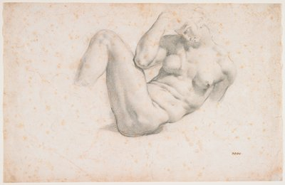 partially reclining figure of a very muscular nude woman with upper body twisted to PL; PR elbow on outside of PL thigh; PL lower arm, PR leg and PL foot not differentiated--hair and PL hand faintly sketched; four O's in brown ink, LRC