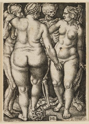three nude women standing close together, with skeleton at back addressing R female figure; one woman stands with her back fully to the viewer with her foot on a death's head and her arm around an older, emaciated woman to her PL