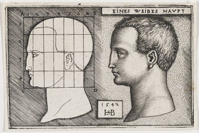 two profiles of a woman, facing R; profile at L is a mostly simple outline with overlaid grid; bust on R is a more detailed and shadowed image