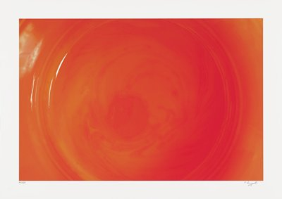 abstract image; red-orange pigments in round form with slightly darker center and shiny white streaks in ULQ