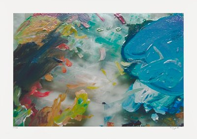 Abstract image; multicolored pigments- yellow, red, green, pink blobs overlap smeared painted background; large blue blob on upper right quadrant
