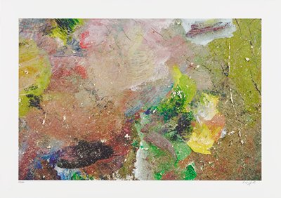 abstract image; muted pigments of pink, green and peach mixed with bright yellow, orange, blue and green; small white splatters throughout; yellow and orange blob surrounded by green pigment in lower right quadrant; scrape marks throughout