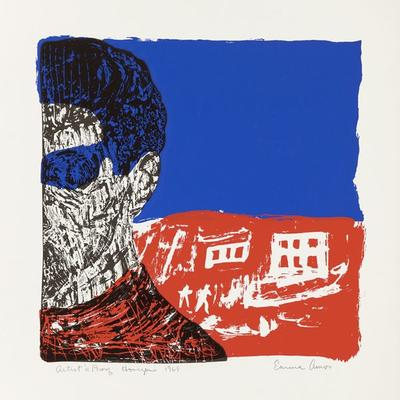 partial view of head and shoulders of figure on left, rendered in scratchy black pigments, with blocks of blue pigment on top of head and in eye area, and red pigment on neck and shoulder area; background divided in half, with solid blue on top and red section on bottom with buildings and figures etched into surface