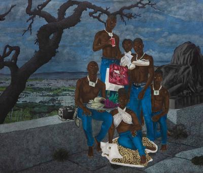 group of six Black figures, all wearing blue jeans, with white eyes, sitting and leaning against a wall; mostly blue background; dark tree in ULQ; right figure has a pair of white tennis shoes around neck; top figure drinking out of a paper cup with a Coca-Cola label on it, and holding shopping bags in PL hand; urban cityscape in background