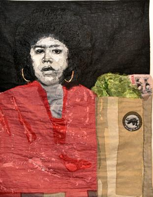 3/4 length portrait of a woman wearing red with a bag of groceries; black ground; rod pocket on verso for hanging