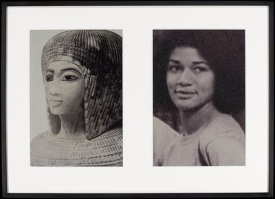 two black and white photographs matted and framed together; a (left) = ancient Egyptian sculpted portrait of a woman, seen slightly turned, with hair in braids with bangs, and wearing a wide necklace; b (right) = slightly blurry portrait of a woman slightly smiling, with her eyes looking toward PL