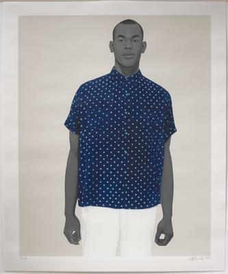 3/4 portrait of a Black man with his skin tones painted in black and white; cream ground; man's shirt is navy blue with small, lighter blue polka; unframed