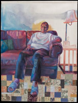 """Painting of a Black figure seated on a pink/purple couch; figure is wearing blue slippers, a white long-sleeved shirt and blue pants that say """"Bay Lake"""" down the PL leg; carpet is a collage of fabrics and photos"""
