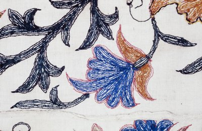 Panel of slightly conventionalized leaves and flowers embroidered on heavy cotton. Several parts of the design are outlined in machine chain stitch with red. The anhiline dyes have run and stained the material.
