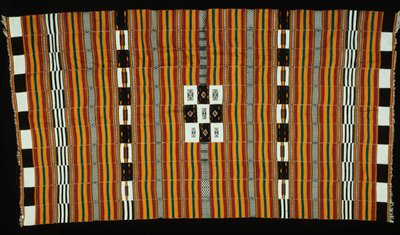 blanket, cotton, African (Mali), stored in box; 'Simmons African'; stored w/ 86.100.4; checkerboard of red, yellow, green, black and white squares