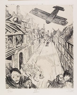 plane flying low over a narrow street, with tops of buildings crumbling; wide-eyed people fleeing in bottom corners, others lying in street