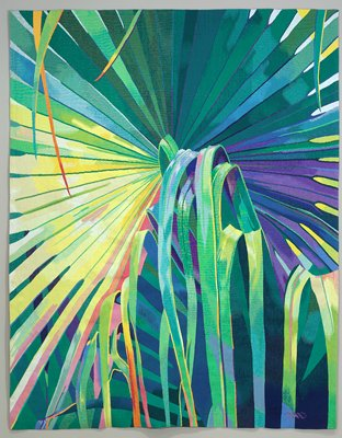 palm leaves in blues, greens, pink, red, orange and yellow; symbol in purple in LRC