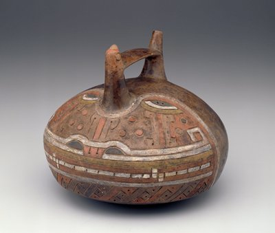 round bodied vessel with rounded bottom; handle with spout; decorated with incised stylized face made of geometric shapes, in black, yellow, red and white