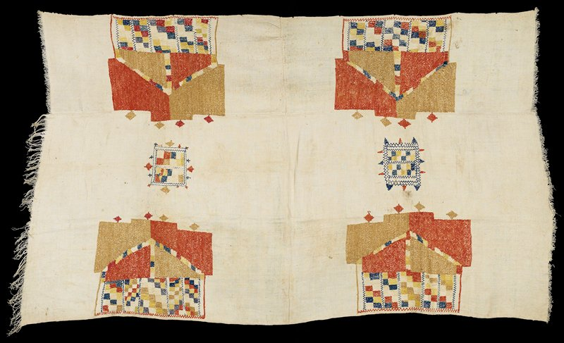 cotton muslin with six red, blue, yellow and gold geometric embroidery designs; short fringe on the two short ends