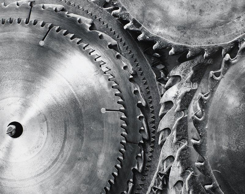 saw blades, several different sizes and teeth shapes
