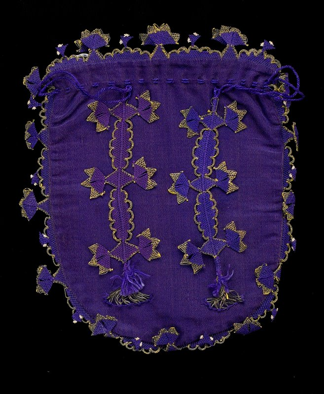 purple and metallic gold pouch; lacy scalloped trim; two vertical lacy elements on front; purple drawstring at top