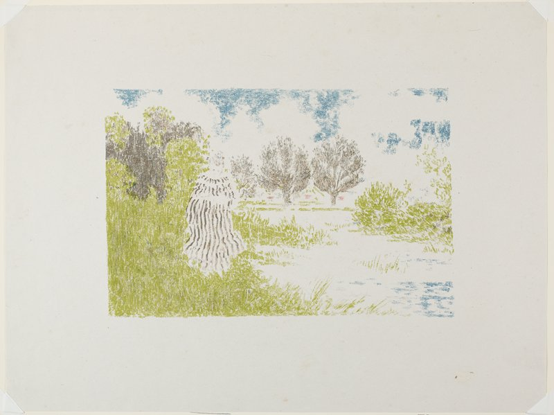 sketchy image of woman in a brown and white striped dress on a grassy bank; water at R; three trees in center background; green, brown, blue and pink