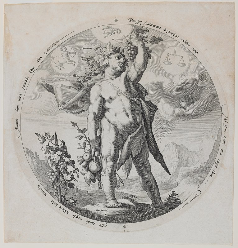 round image of short heavy-set nude man wearing cape and crown of grape leaves and holding fruit in his PR hand and grapes in his PL hand; short grapevine on a stake at left; symbols for Libra, Scorpio and Sagittarius in sky; face blowing wind in sky at right