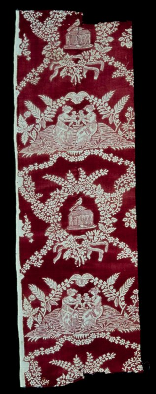 Toile, fragment, printed in red with a repeat design, consisting of two (card illegible).