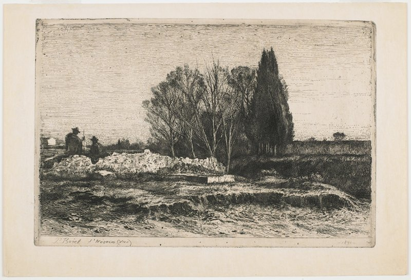 two shadowy figures wearing hats at left--one has walking stick; small cluster of trees at center; flat landscape; several buildings at left