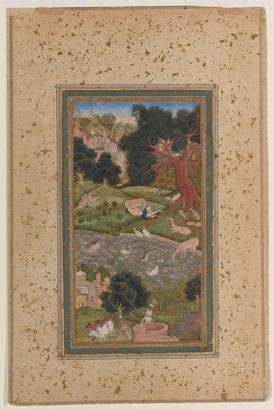 Illustration from the 'Khamsa' (Five Poems) by the Persian poet Nizami (1141-1202). The nearly drowned hero, Majnun, has been rescued by various animals and is being revived.