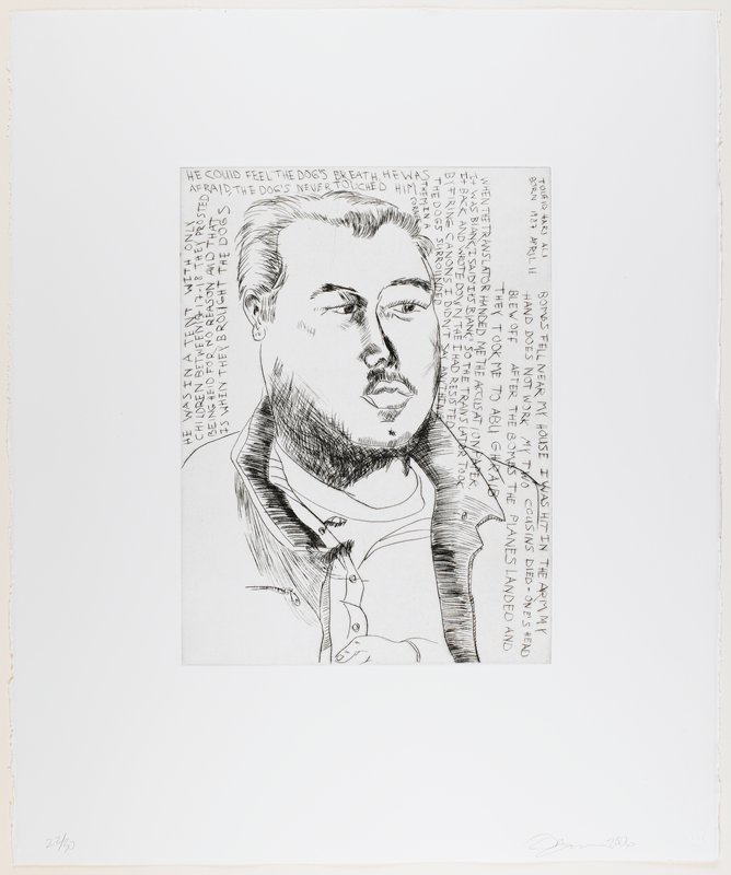 line drawing-style portrait of a man with full lips and heavy cheeks, wearing a jacket with a zippered chest pocket; text at top, L and R edges