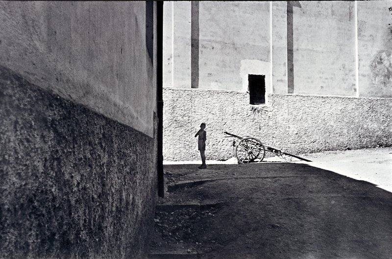 boy standing, in the shadow of a building, near a cart in the sunlight