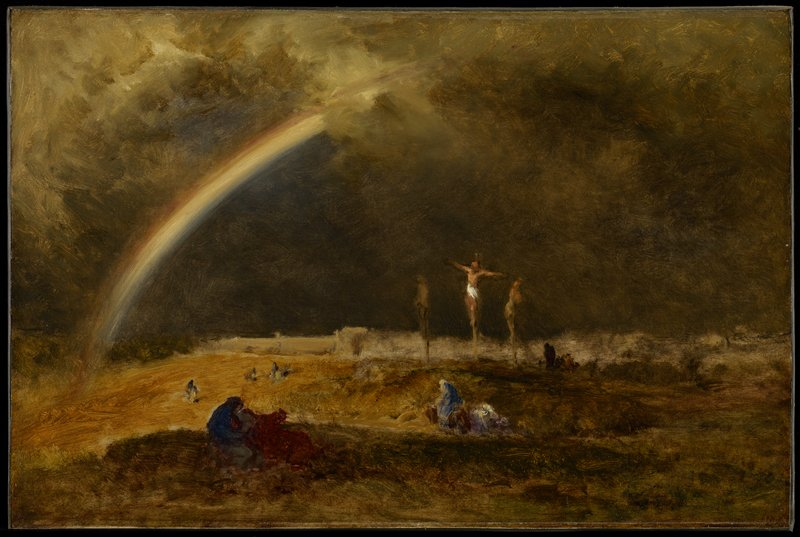 rainbow fades into clouds; three crucified figures; scattered figures in landscape