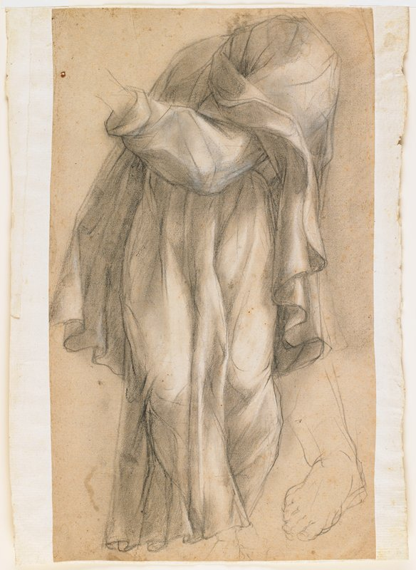 full-length draped figure without head and with only partial PL wrist and foot; drapery folded across bent arm; sketchy study of a bare right foot, LRC