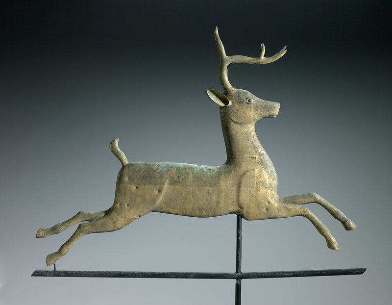 weathervane in the form of a leaping deer with two separate horns and three-dimensional ears; gold patina