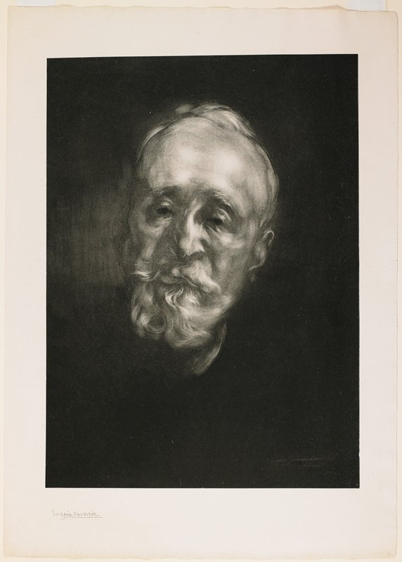 painterly-style portrait of a man with a short white beard and short white hair against a black ground