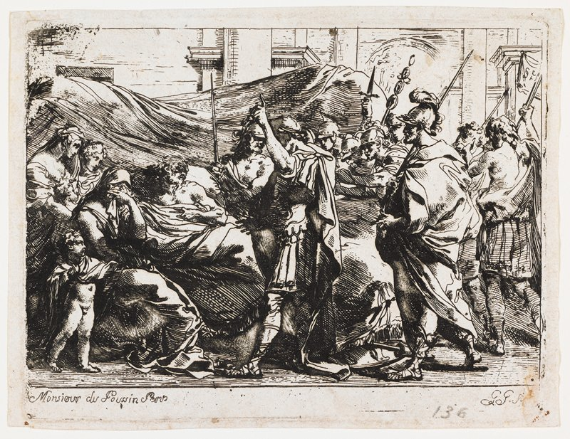 after Poussin painting of the same subject; reclining Germanicus on a bed with flowing drapery behind at left; three women--one weeping--and child at left; soldiers with spears at left; printed in black; received matted with L2009.66.2.2