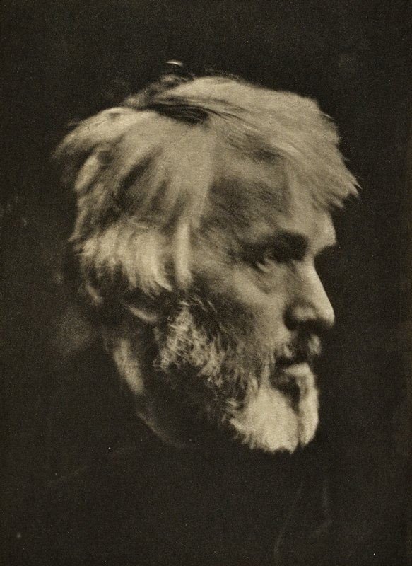 profile of bearded, white haired Thomas Carlyle