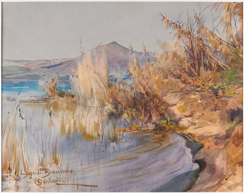 landscape with water at L; purplish mountain peak in background; tan and brown foliage at L and center forming a small lagoon