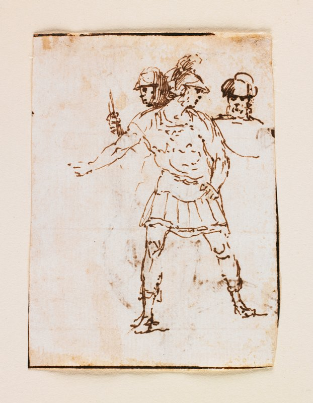 standing soldier wearing armor, helmet, sandals; two heads visible over shoulders of front soldier; another possible drawing on verso