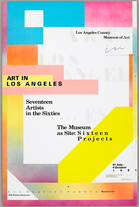 geometric design; white ground with areas of solid color and airbrush-like colors fading into one another at edges; Los Angeles County Museum of Art exhibition poster