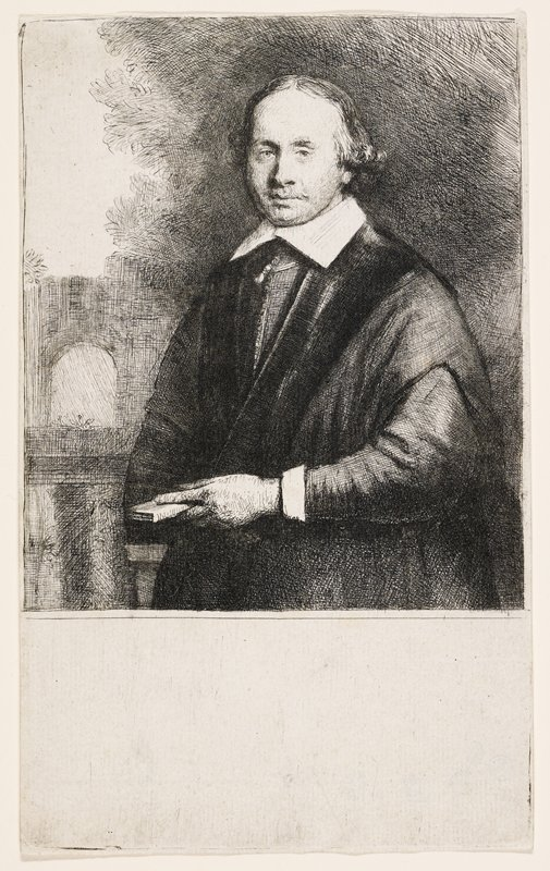 3/4 portrait of a standing man, holding a small book in his PL hand; long hair with curls above the ears; moustache; sketchy archway and foliage behind figure; empty panel below image (inside plate marks)